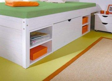 erfahrung stauraumbett 140x200 cm weiss im gro en. Black Bedroom Furniture Sets. Home Design Ideas