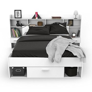 erfahrung stauraumbett mit regalwand weiss im gro en. Black Bedroom Furniture Sets. Home Design Ideas