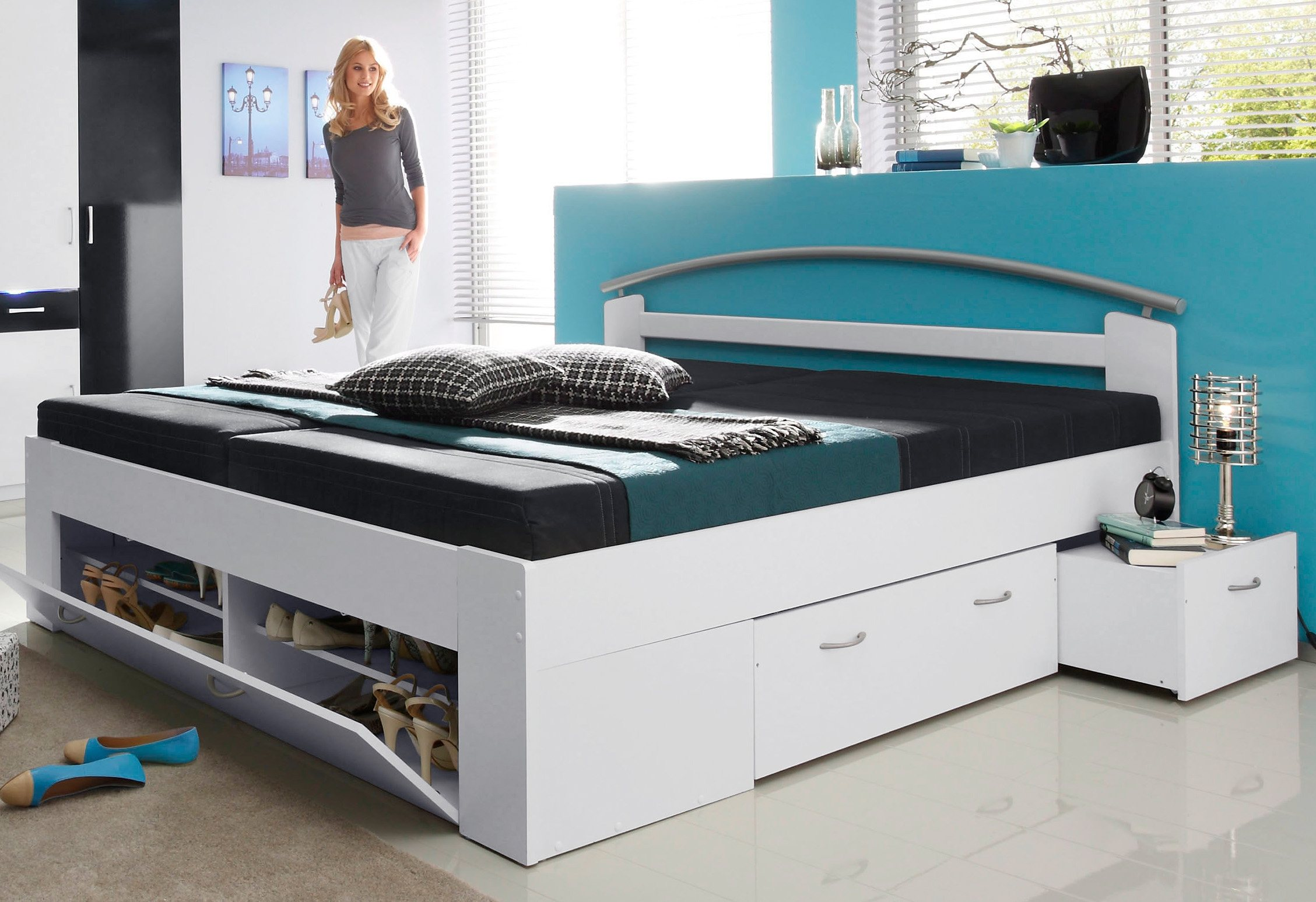 erfahrung stauraumbett otto 140x200 cm weiss im gro en. Black Bedroom Furniture Sets. Home Design Ideas